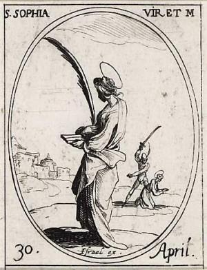 Martirio de Santa Sofía de Fermo. Grabado de Jacques Callot.