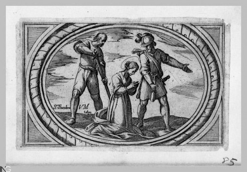 """Martirio de la Santa. Grabado de Antonio Tempesta para """"Istoria de molte vergini romane nel martirio"""", Istituto Nazionale dell'Arte Grafica, Roma (Italia)."""