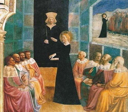 La disputa con los filósofos. Capilla de Santa Catalina en San Clemente al Laterano, Roma.