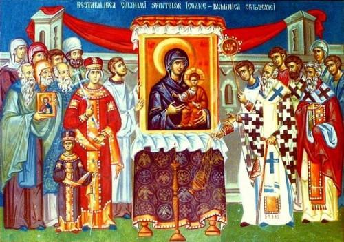 Icono correspondiente al Domingo de la Ortodoxia: la veneración de los sagrados iconos.