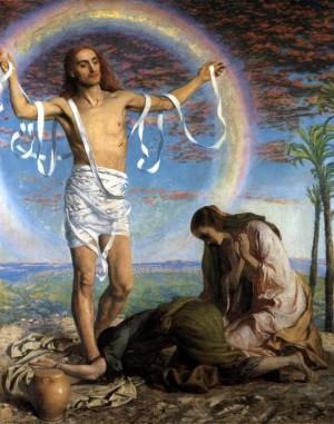"""""""Cristo resucitado en el jardín de José de Arimatea"""", lienzo del pintor británico William Holman Hunt."""