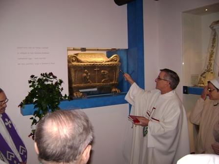 Reliquias del Santo en Limone Sur Garda (Brescia), Italia.