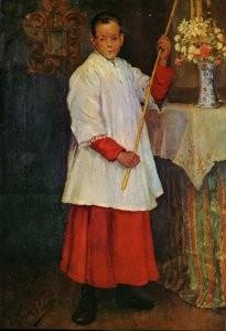 """""""El acólito"""", lienzo de Pablo Picasso. Va revestido con sotana y sobrepelliz."""