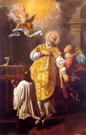 San Andres Avelino en su última misa, aparece revestido para la Santa Misa. Es asistido por un acólito revestido con sotana y sobrepelliz.