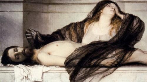 """María Magdalena llora a Cristo muerto"", lienzo de Arnold Bocklin."