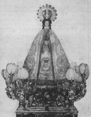 Imagen de la Virgen de las Nieves de Aspe y Hondón. Fotografía de 1912.
