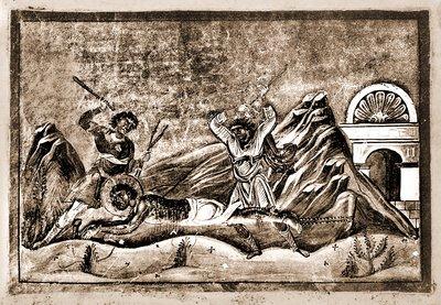 Martirio de San Domnino de Tesalónica. Miniatura del Menologio de Basilio II (s.XI). Biblioteca Apostolica Vaticana, Roma (Italia).