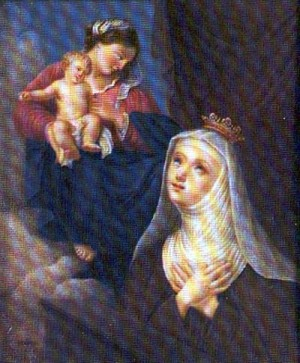 Lienzo de la Beata Luisa de Saboya contemplando a la Virgen María.