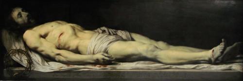 """Cristo muerto tendido sobre su sudario"", lienzo de Philippe de Champaigne (1654). Museo Nacional del Louvre, París (Francia)."