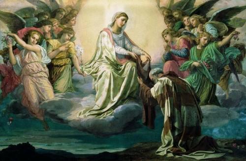 Visión del Santo: la Virgen le entrega el escapulario de la Orden carmelita.