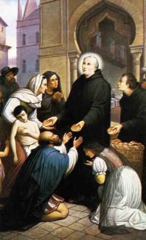 Estampa devocional del Santo atendiendo a pobres y enfermos.