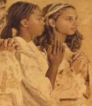Detalle de las Santas Perpetua y Felicidad. Catedral de Ntra. Sra. de los Ángeles, Los Ángeles (EEUU). Las modelos que posaron para ello son de raza negra, un error de base.