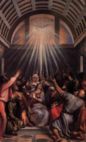"""""""Pentecostés"""", óleo de Tiziano Veccellio (1545). Iglesia de Santa Maria della Salute, Venezia (Italia)."""