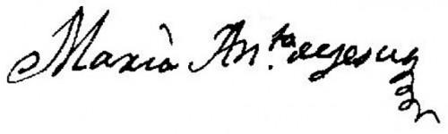 Firma de la Sierva de Dios como María Antonia de Jesús.