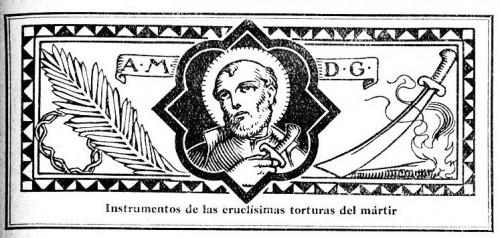"""Membrete del Santo con los instrumentos de su suplicio. Enciclopedia """"El Santo de Cada Día"""", Edelvives, 1960."""