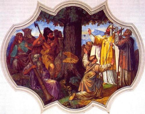 El Santo manda cortar una encina sagrada para los germanos. Fresco del techo en una iglesia alemana.