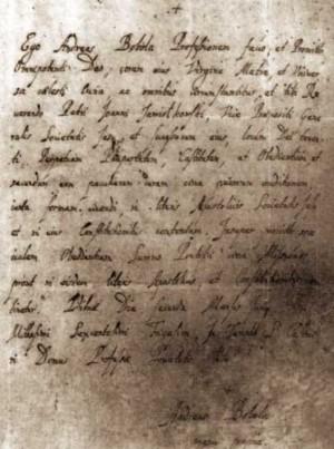 Carta redactada del puño y letra del Santo.
