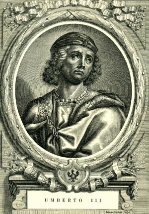 Grabado romántico del Beato Humberto III de Saboya, conde.