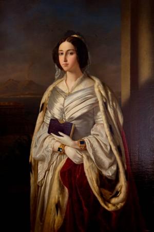 Lienzo neoclásico de la Beata María Cristina de Saboya, reina de las Dos Sicilias.