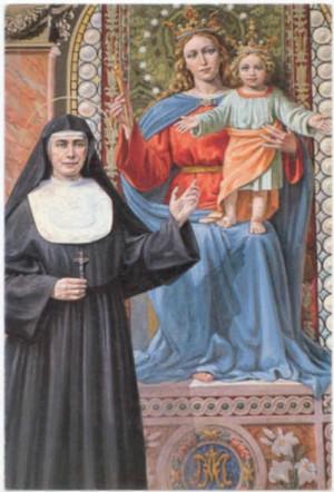 Estampa de la Santa junto a María Auxiliadora, patrona de su Instituto.