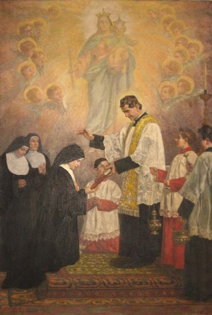 La Santa recibe el reglamento de manos de Don Bosco.