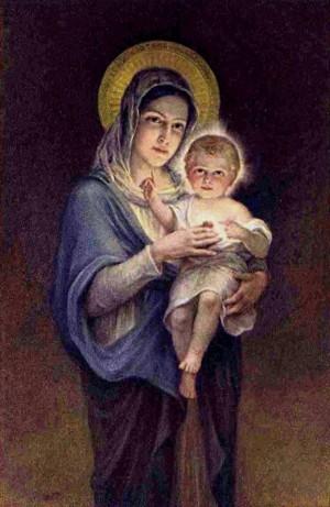 Virgen del Sagrado Corazón. Estampa devocional de los años 20.