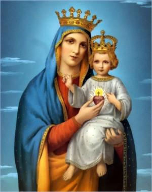 Imagen de la Virgen del Sagrado Corazón modificada según las disposiciones del Beato papa Pío IX.
