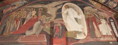 Fresco de Cristo rescatando a Adán y Eva del Sheol. Catedral ortodoxa rumana de Nuremberg, Alemania.