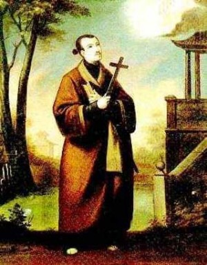 Representación del beato Francisco Pacheco vestido como japonés.