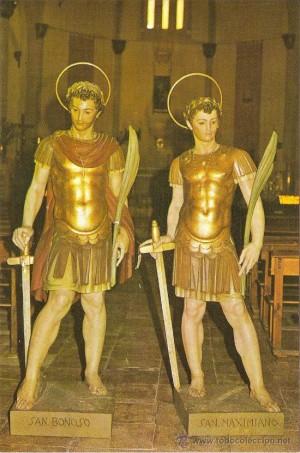 Imágenes de los Santos Bonoso y Maximiano veneradas en Arjona (España).