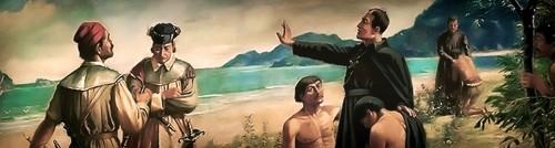 El Santo, defensor de los indígenas brasileños. Detalle de un lienzo contemporáneo.