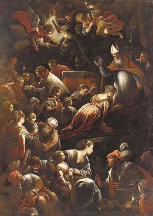 Bautizo de la Santa. Lienzo de Jacopo Bassano. Iglesia de la Santa en Brescia, Italia.