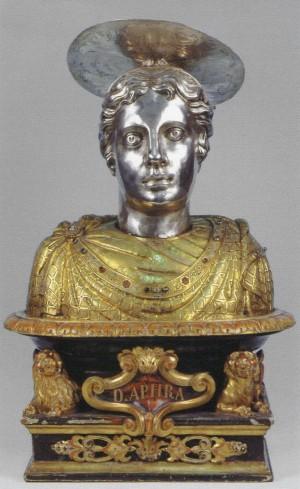 Busto-relicario de la Santa en su iglesia de Brescia, Italia.