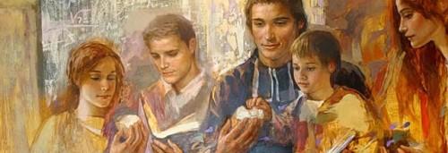 El Santo, educador de la juventud. Detalle de un lienzo contemporáneo.