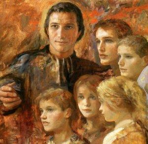 Detalle de otro lienzo contemporáneo del Santo, educador de los jóvenes.