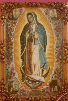 Milagrosa imagen de la Guadalupana, Capilla de la Casa Central de la Hnas. Jerónimas, Cdad. de Puebla, (México).