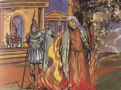 """Martirio de la Santa. Ilustración infantil para """"El Santo de Cada Día"""", obra de Rafael López-Melús."""