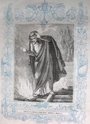 Martirio de la Santa. Grabado para una Vida de los Santos en edición española.