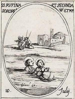 Las Santas, arrojadas al Tíber, logran salir a flote. Grabado de Jacques Callot.