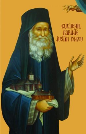 Icono ortodoxo rumano del padre Iustin Pârvu con sus monasterios de Petru Vodă y Paltin, fundados por él.