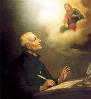 El Santo, componiendo poemas para la Virgen.