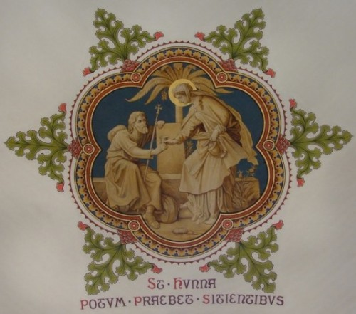 Fresco decimonónico de Santa Hunna de Alsacia, patrona de las lavanderas.