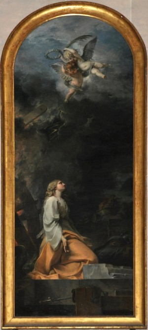 Santa Catalina de Alejandría, lienzo de Jacques Louis Touzé. Iglesia de Santo Tomás de Aquino, París (Francia).
