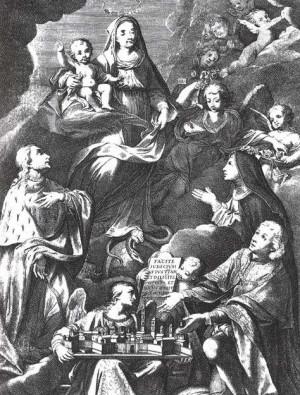 La Virgen entre los Beatos Luisa y Amadeo IX de Saboya.