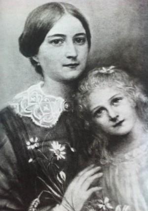 Dibujo a carboncillo de la Beata y su hija, Santa Teresa de Lisieux, hecho por Celina.