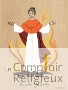 Ilustración de la Santa en la pira. Fuente: http://www.comptoir-religieux.fr/