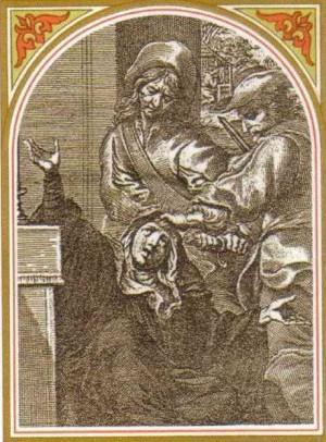Martirio de la Santa. Grabado barroco en una estampa devocional italiana.