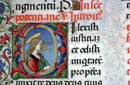 Miniatura de Santa Pudenciana en el Misal de Atavante, Lyon (Francia). La Santa aparece sosteniendo la palma del martirio.