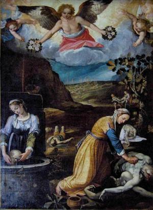 Las Santas recogiendo los cuerpos de los mártires. Lienzo de Paolo Rossetti (1621). Iglesia de Santa Pudenciana, Roma (Italia).