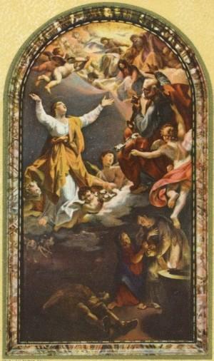 Glorificación de Santa Pudenciana. Lienzo del altar mayor de la iglesia de la Santa en Roma, Italia.